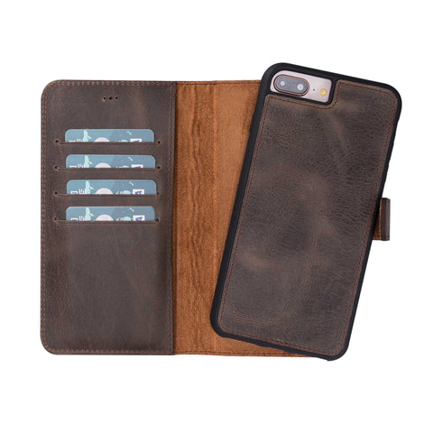 Magic Magnetic Detachable Leather Wallet Case for iPhone 8 Plus / 7 Plus - BROWN