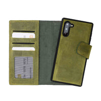 Liluri Magnetic Detachable Leather Wallet Case for Samsung Galaxy Note 10 - GREEN - saracleather