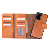 "Santa Magnetic Detachable Leather Tri-Fold Wallet Case for Samsung Galaxy S20 Plus (6.7"") - TAN - saracleather"
