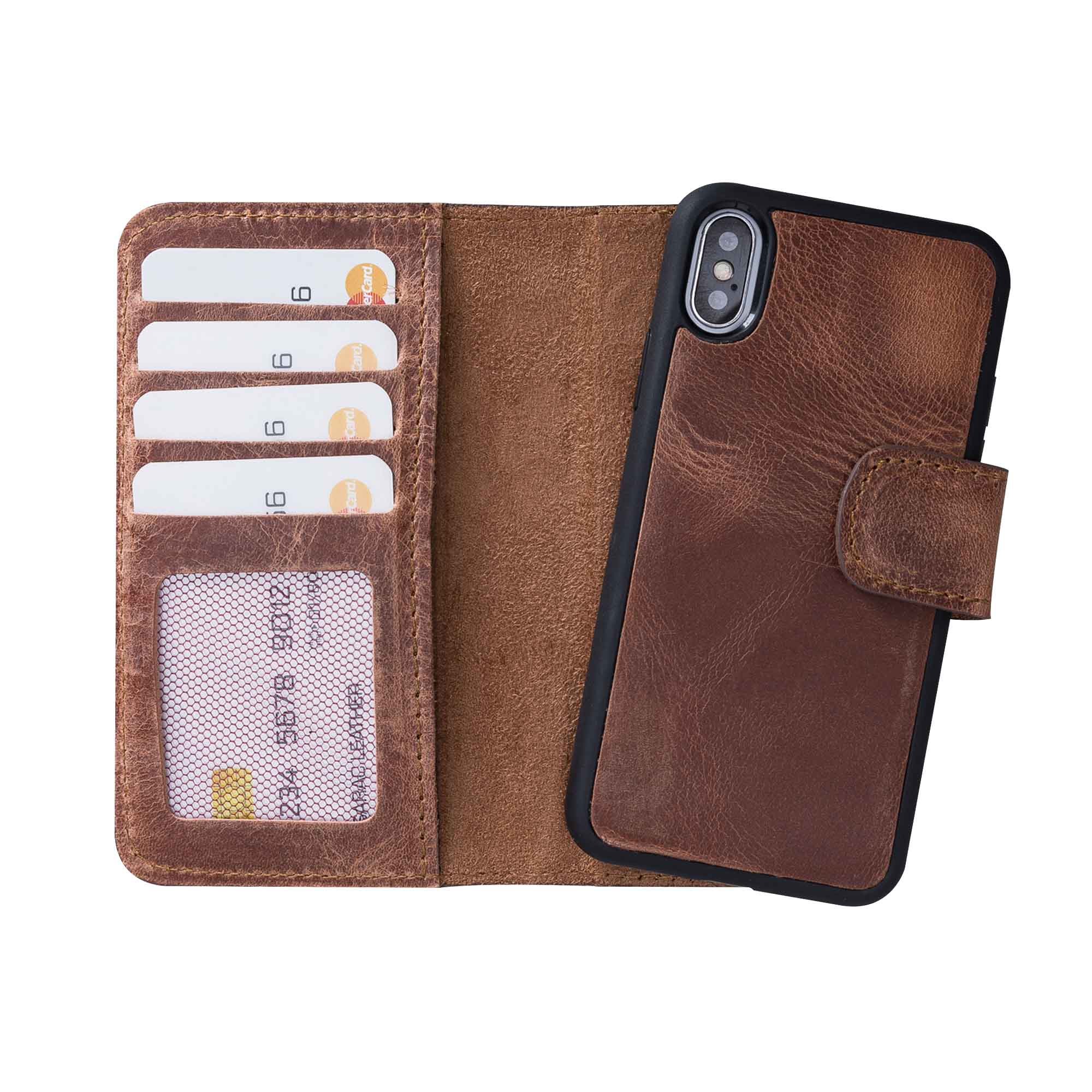 "Liluri Magnetic Detachable Leather Wallet Case for iPhone X / XS (5.8"") - BROWN"