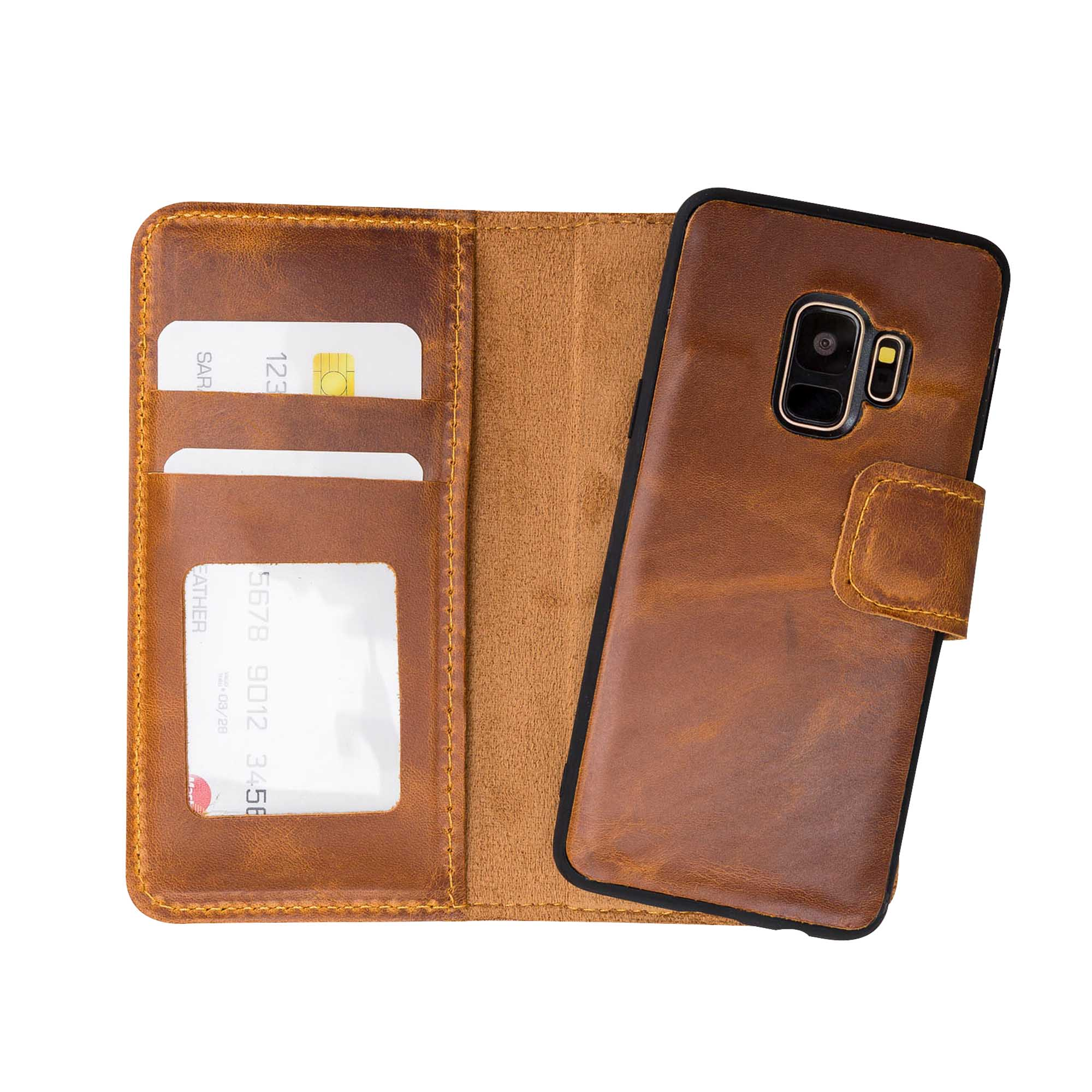 Liluri Magnetic Detachable Leather Wallet Case for Samsung Galaxy S9 - TAN - saracleather