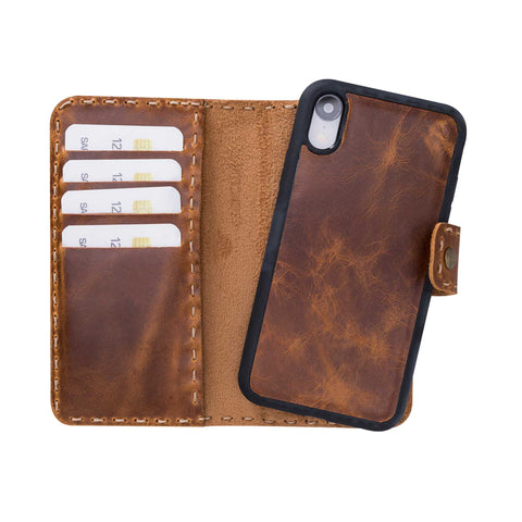 "Adel Magnetic Detachable Leather Wallet Case for iPhone XR (6.1"") - TAN"