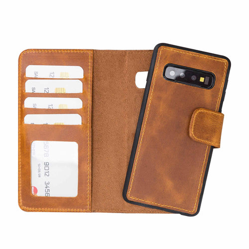 Liluri Magnetic Detachable Leather Wallet Case for Samsung Galaxy S10 - TAN - saracleather