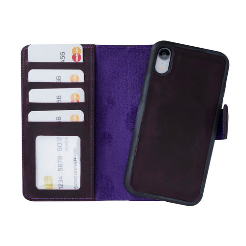 "Liluri Magnetic Detachable Leather Wallet Case for iPhone XR (6.1"") - PURPLE - saracleather"