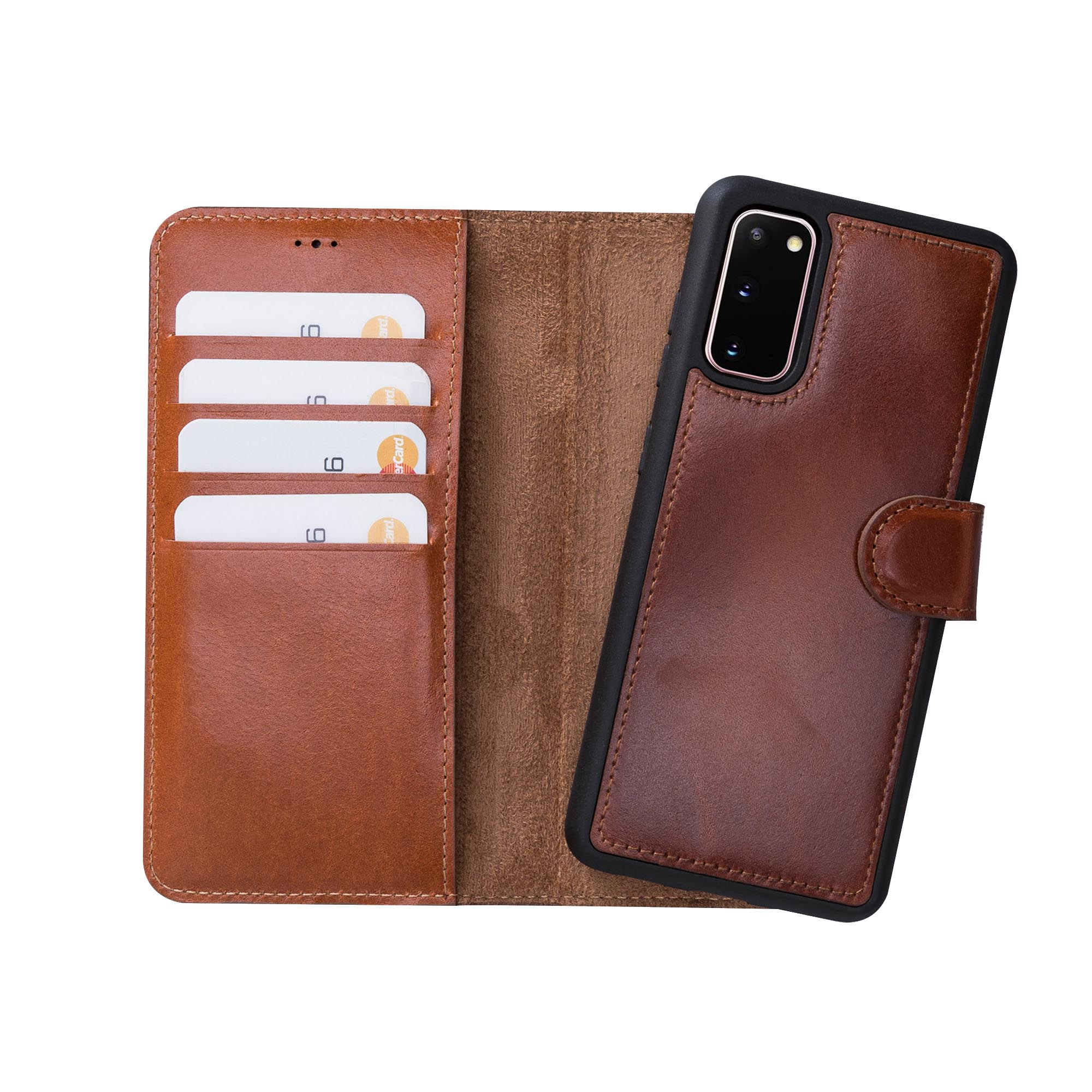 "Magic Magnetic Detachable Leather Wallet Case for Samsung Galaxy S20 (6.2"") - EFFECT BROWN - saracleather"