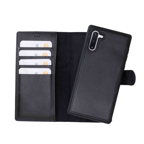 Magic Magnetic Detachable Leather Wallet Case for Samsung Galaxy Note 10 - BLACK - saracleather