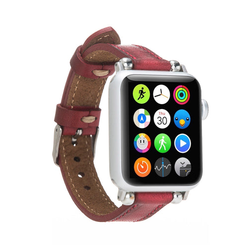 Ferro Strap - Full Grain Leather Band for Apple Watch 38mm / 40mm - EFFECT RED - saracleather