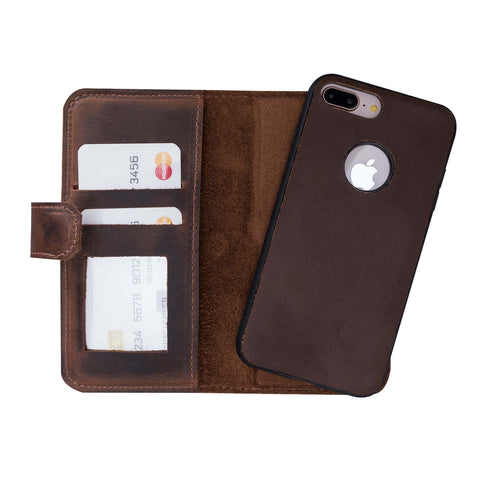 Liluri Magnetic Detachable Leather Wallet Case for iPhone 8 Plus / 7 Plus - BROWN