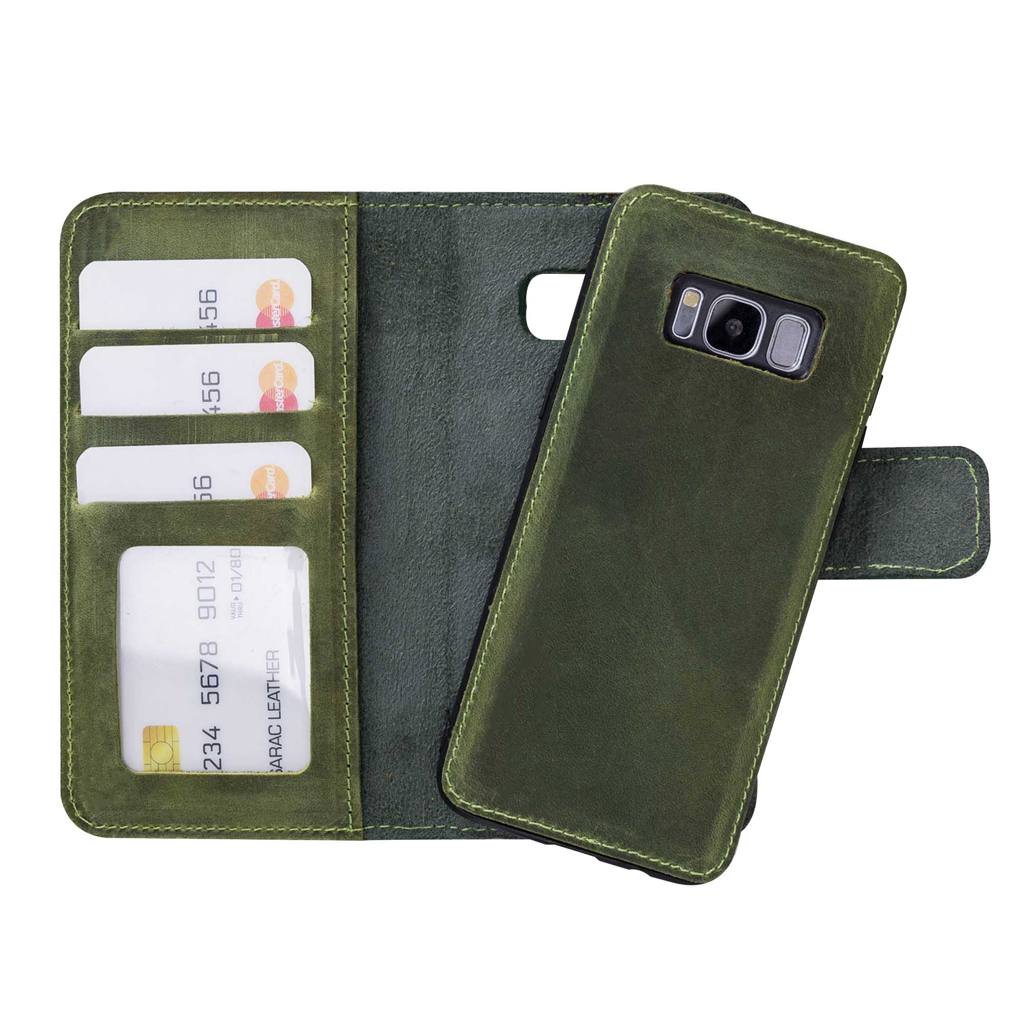 Liluri Magnetic Detachable Leather Wallet Case for Samsung Galaxy S8 - GREEN - saracleather