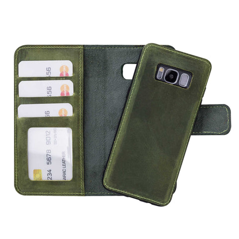 Liluri Magnetic Detachable Leather Wallet Case for Samsung Galaxy S8 - GREEN