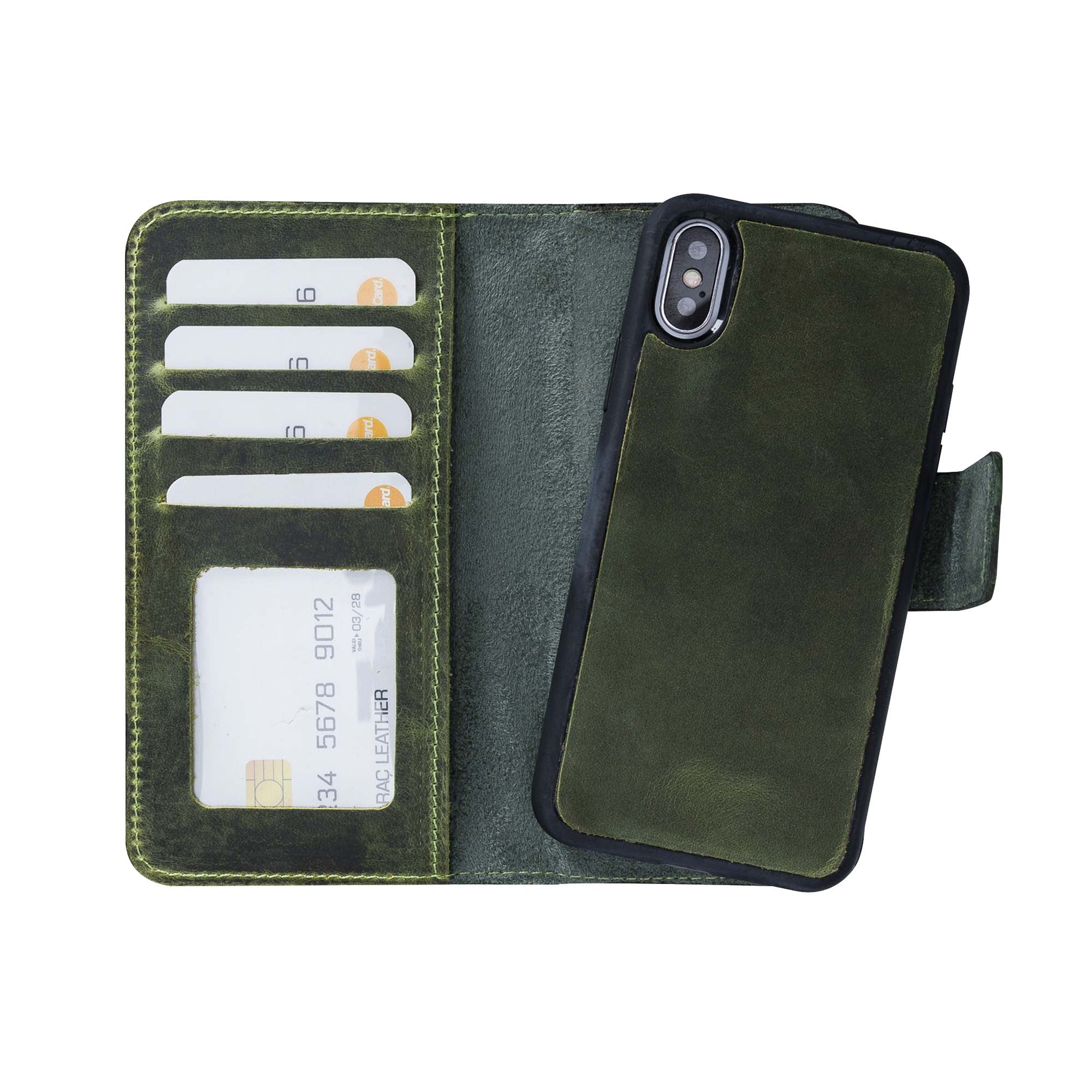 "Liluri Magnetic Detachable Leather Wallet Case for iPhone X / XS (5.8"") - GREEN"