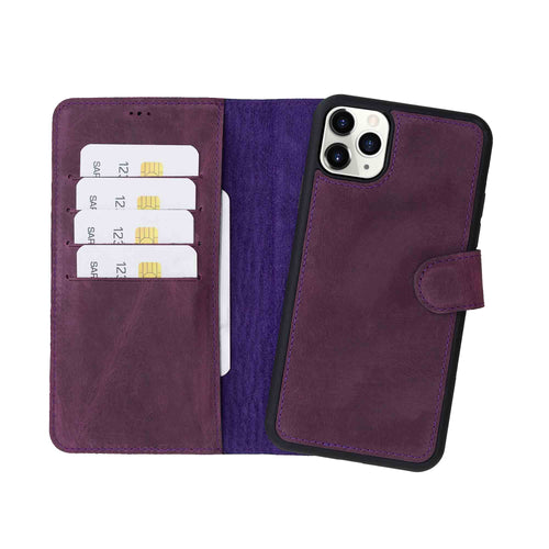 "Magic Magnetic Detachable Leather Wallet Case for iPhone 11 Pro Max (6.5"") - PURPLE - saracleather"