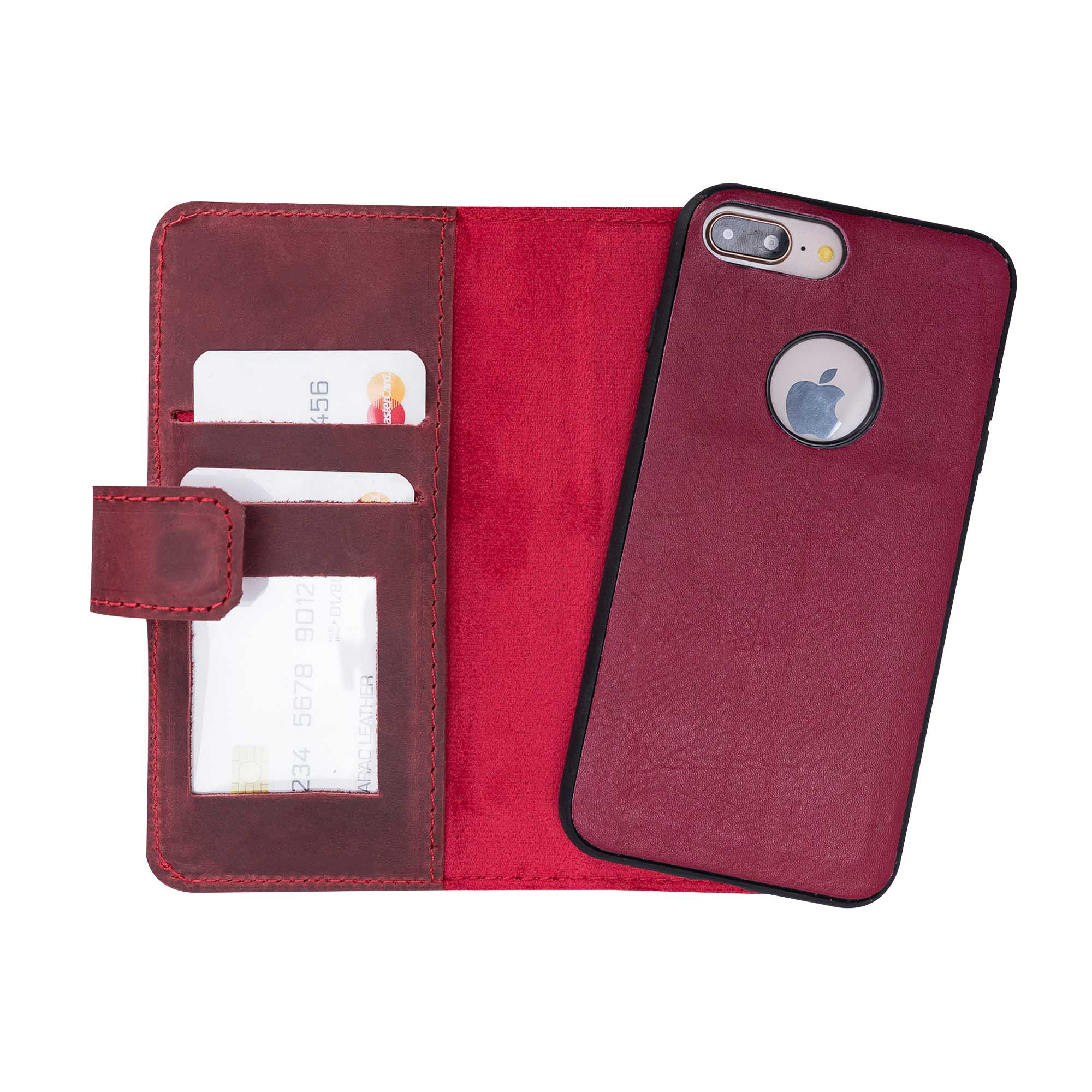 Liluri Magnetic Detachable Leather Wallet Case for iPhone 8 Plus / 7 Plus - RED - saracleather