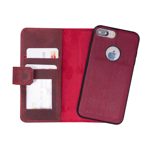 Liluri Magnetic Detachable Leather Wallet Case for iPhone 8 Plus / 7 Plus - RED