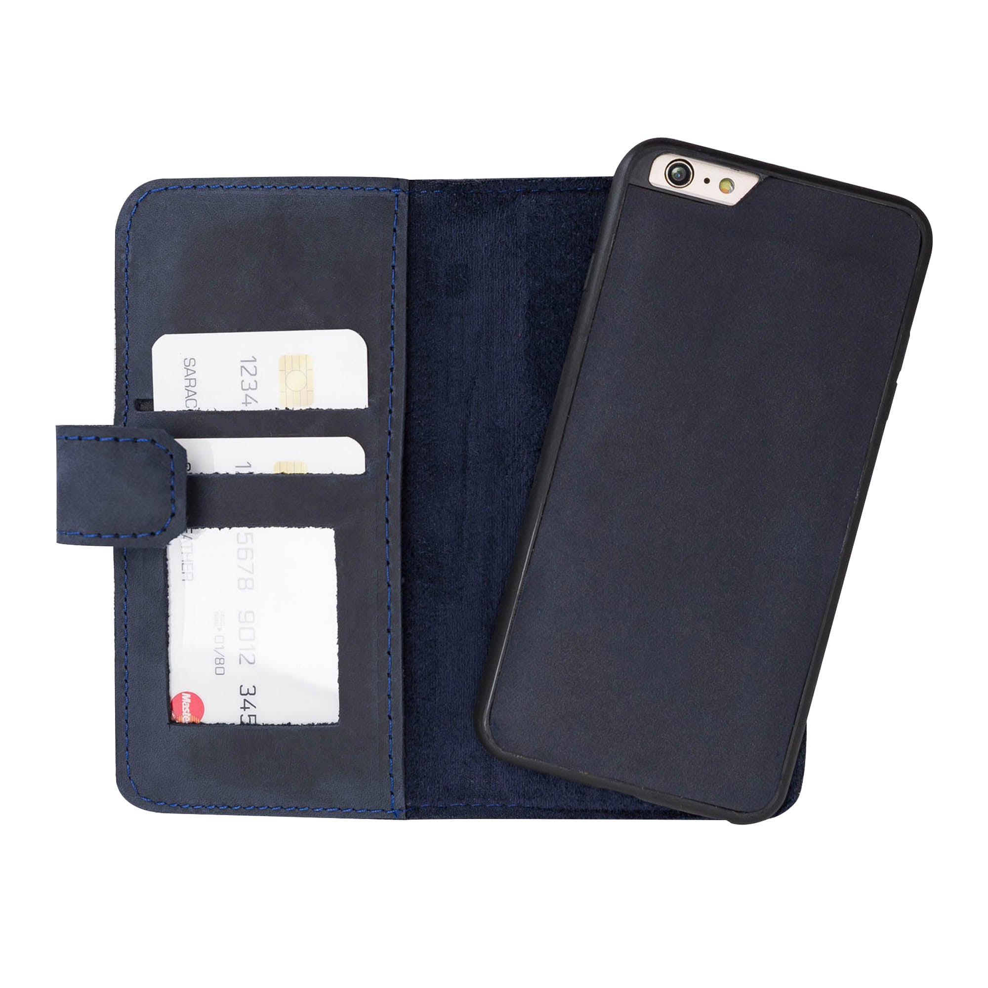 Liluri Magnetic Detachable Leather Wallet Case for iPhone 6 Plus / 6S Plus - BLUE - saracleather