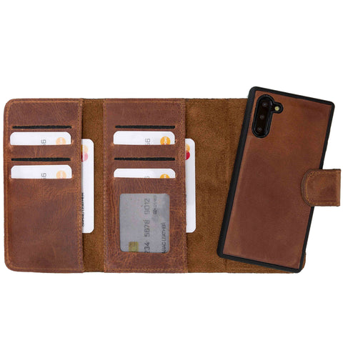 Santa Magnetic Detachable Leather Tri-Fold Wallet Case for Samsung Galaxy Note 10 - BROWN - saracleather