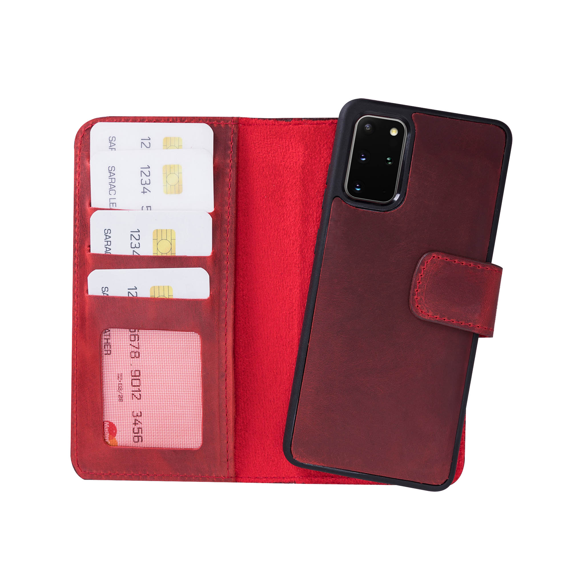 "Liluri Magnetic Detachable Leather Wallet Case for Samsung Galaxy S20 Plus (6.7"") - RED"