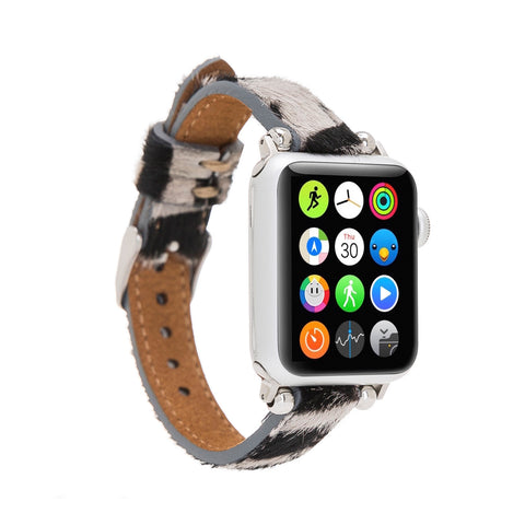 Ferro Strap - Full Grain Leather Band for Apple Watch 38mm / 40mm - FURRY ZEBRA PATTERNED