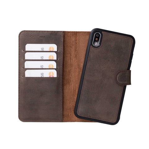 "Magic Magnetic Detachable Leather Wallet Case for iPhone XS Max (6.5"") - BROWN"