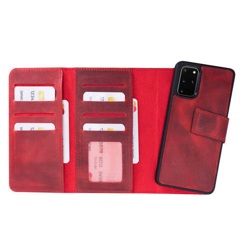 "Santa Magnetic Detachable Leather Tri-Fold Wallet Case for Samsung Galaxy S20 Plus (6.7"") - RED - saracleather"