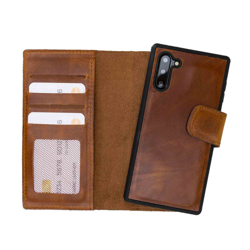 Liluri Magnetic Detachable Leather Wallet Case for Samsung Galaxy Note 10 - TAN - saracleather