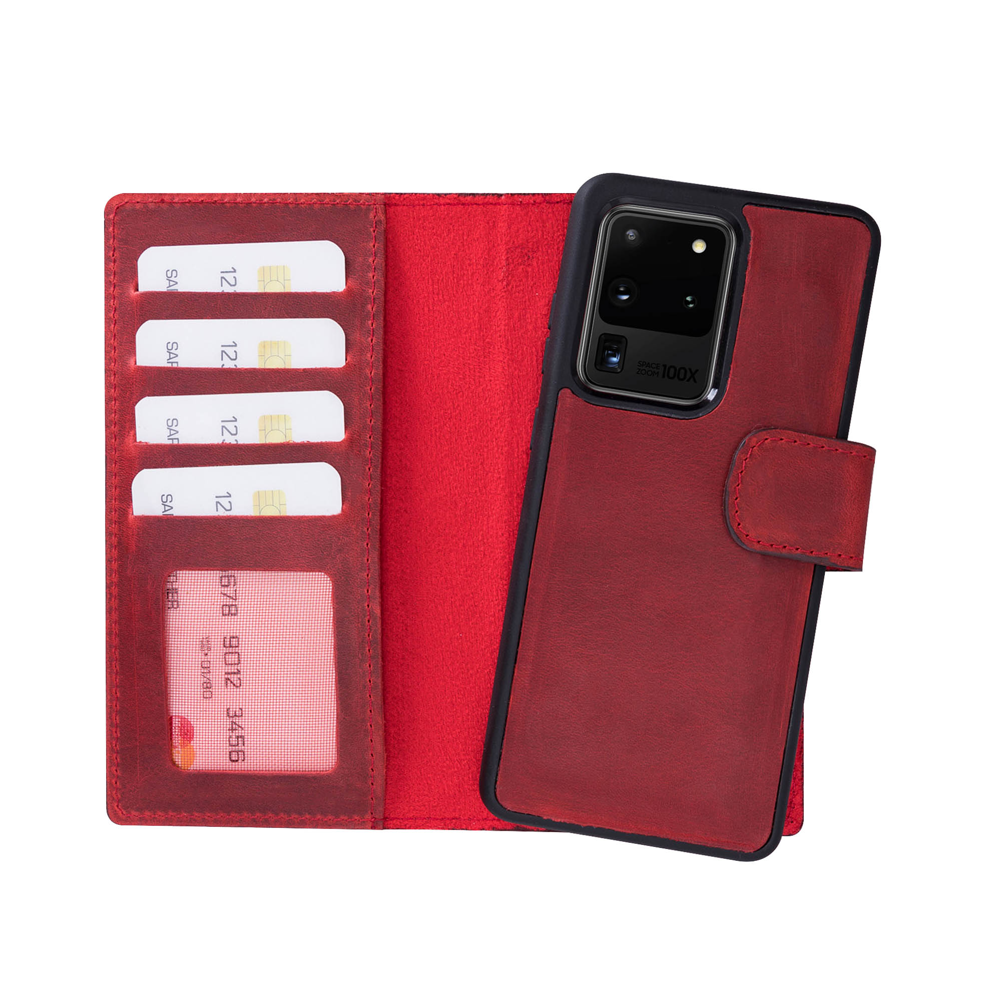 "Liluri Magnetic Detachable Leather Wallet Case for Samsung Galaxy S20 Ultra (6.9"") - RED - saracleather"