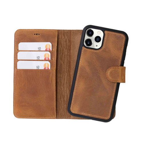 "Magic Magnetic Detachable Leather Wallet Case for iPhone 11 Pro (5.8"") - TAN - saracleather"
