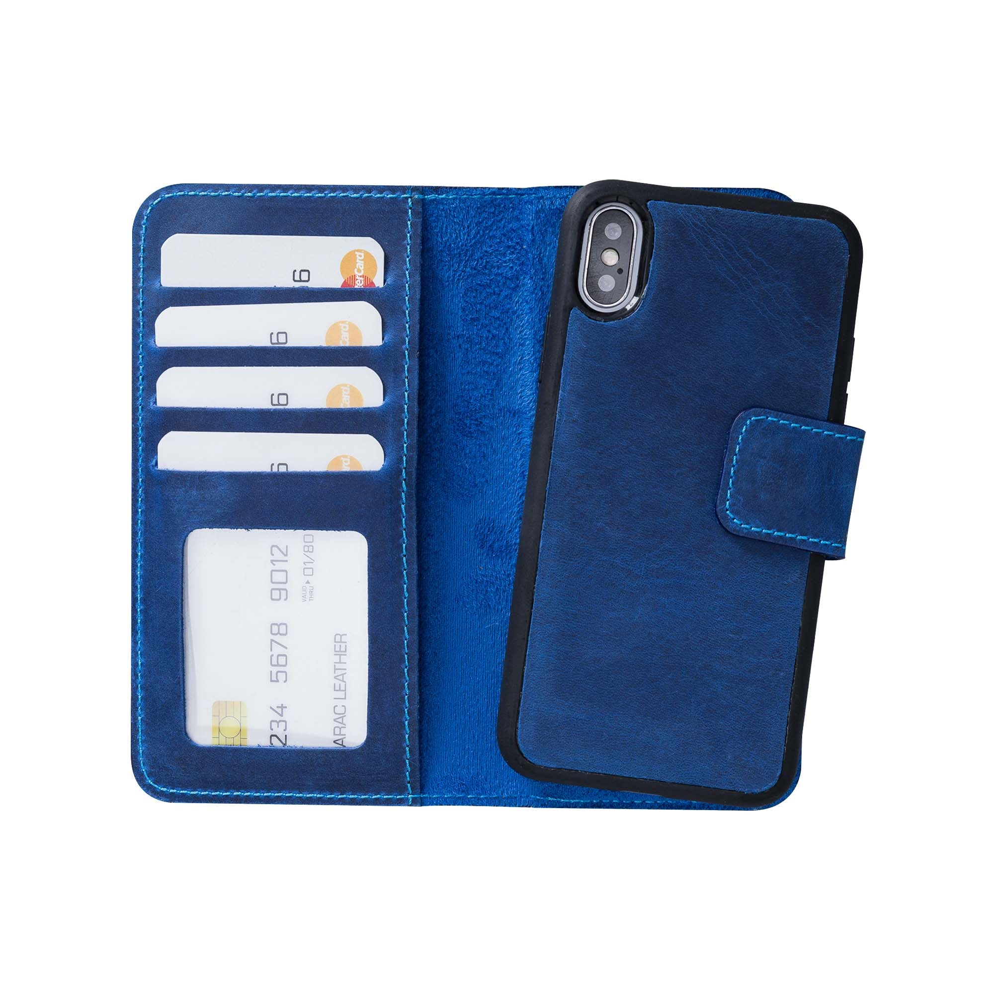 "Liluri Magnetic Detachable Leather Wallet Case for iPhone X / XS (5.8"") - BLUE"