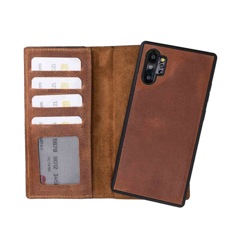 Liluri Magnetic Detachable Leather Wallet Case for Samsung Galaxy Note 10 Plus / Note 10 Plus 5G - BROWN - saracleather