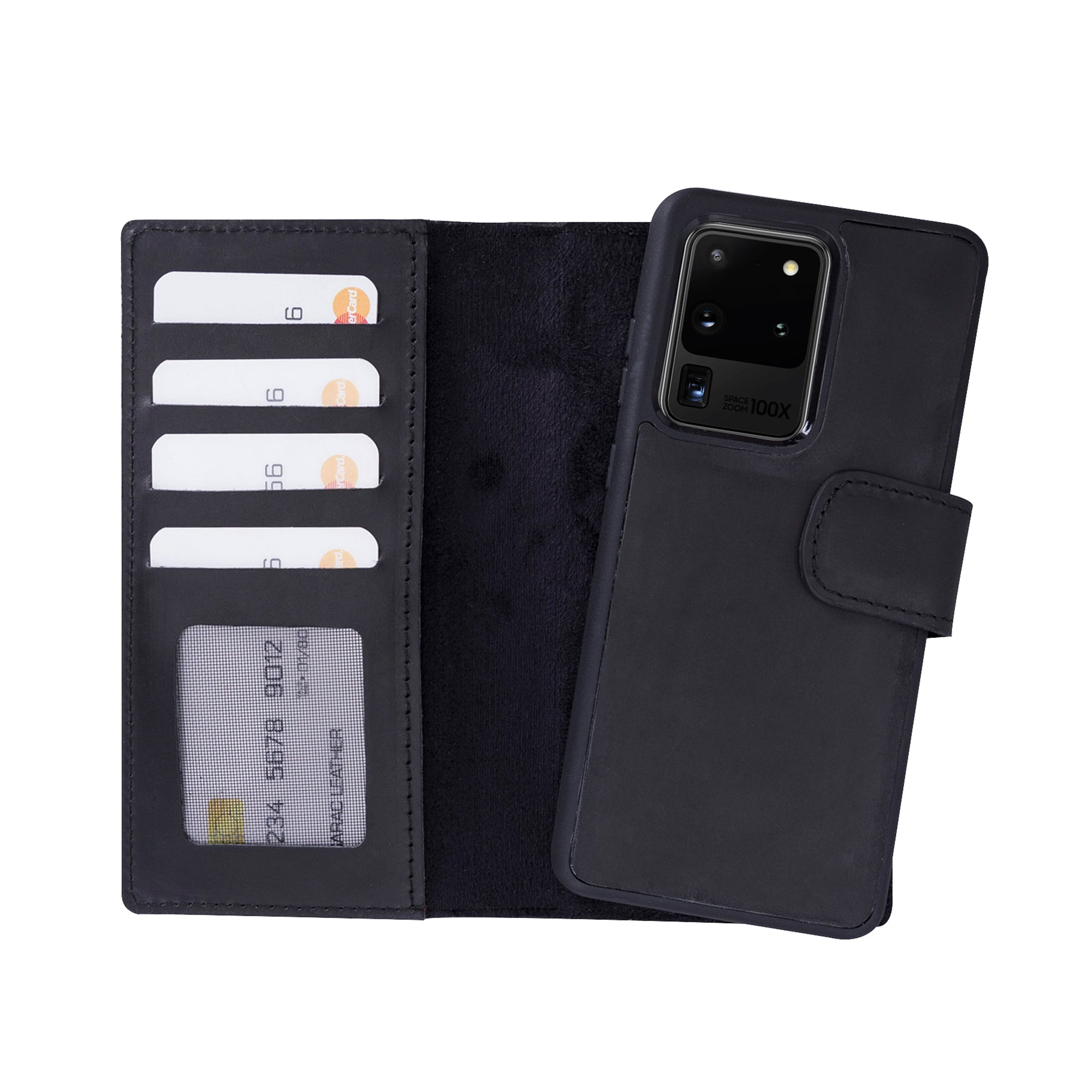 "Liluri Magnetic Detachable Leather Wallet Case for Samsung Galaxy S20 Ultra (6.9"") - BLACK"