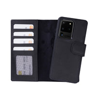 "Liluri Magnetic Detachable Leather Wallet Case for Samsung Galaxy S20 Ultra (6.9"") - BLACK - saracleather"