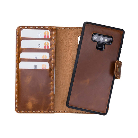 Adel Magnetic Detachable Leather Wallet Case for Samsung Galaxy Note 9 - TAN