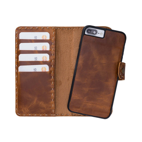 Adel Magnetic Detachable Leather Wallet Case for iPhone 8 / 7 Plus - TAN
