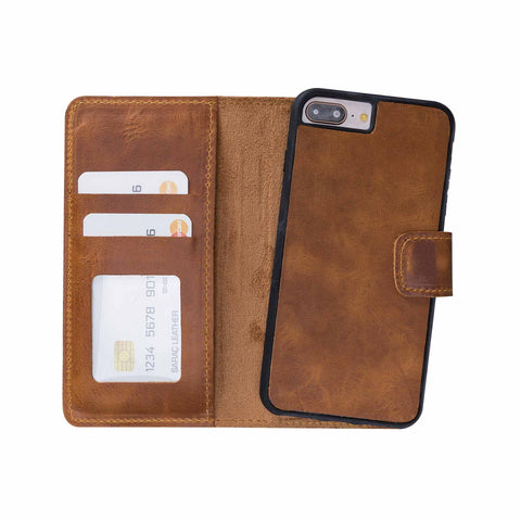 Liluri Magnetic Detachable Leather Wallet Case for iPhone 8 Plus / 7 Plus - TAN
