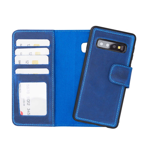 Liluri Magnetic Detachable Leather Wallet Case for Samsung Galaxy S10 - BLUE - saracleather