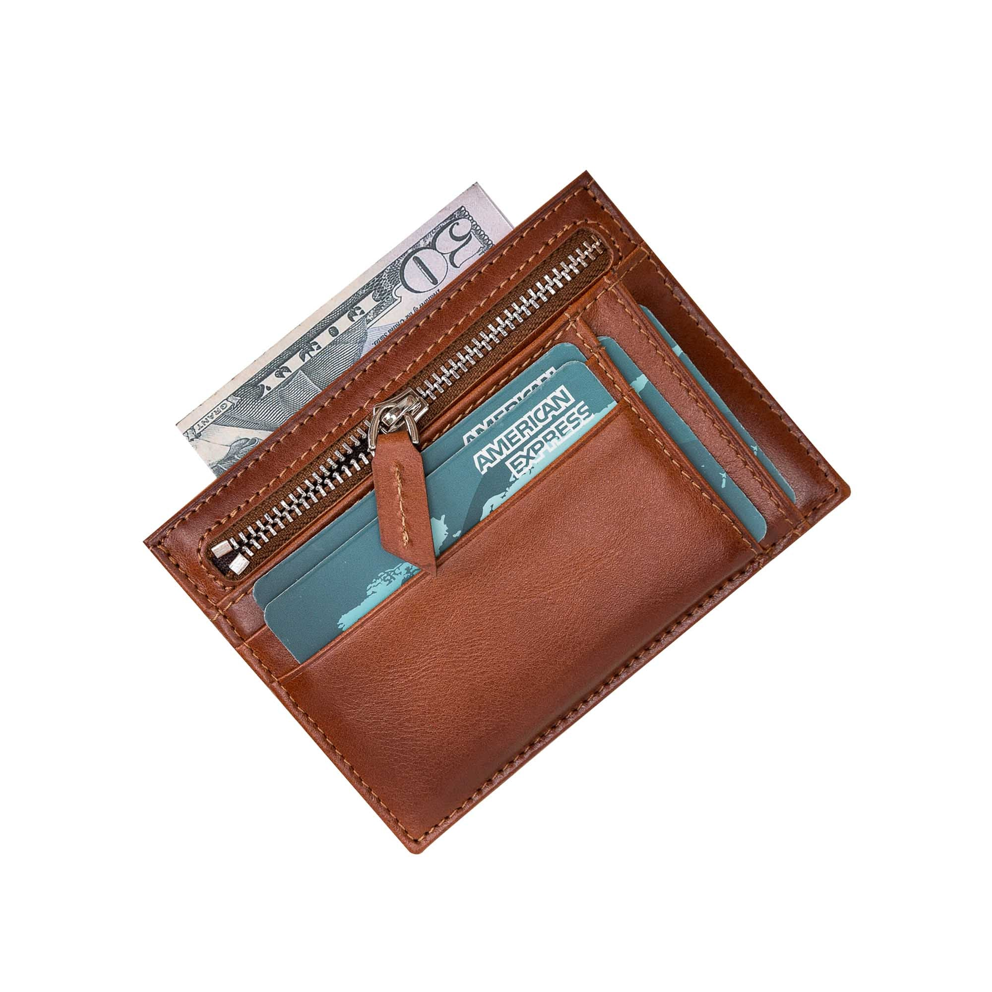 Slim Zipper Leather Wallet - EFFECT BROWN