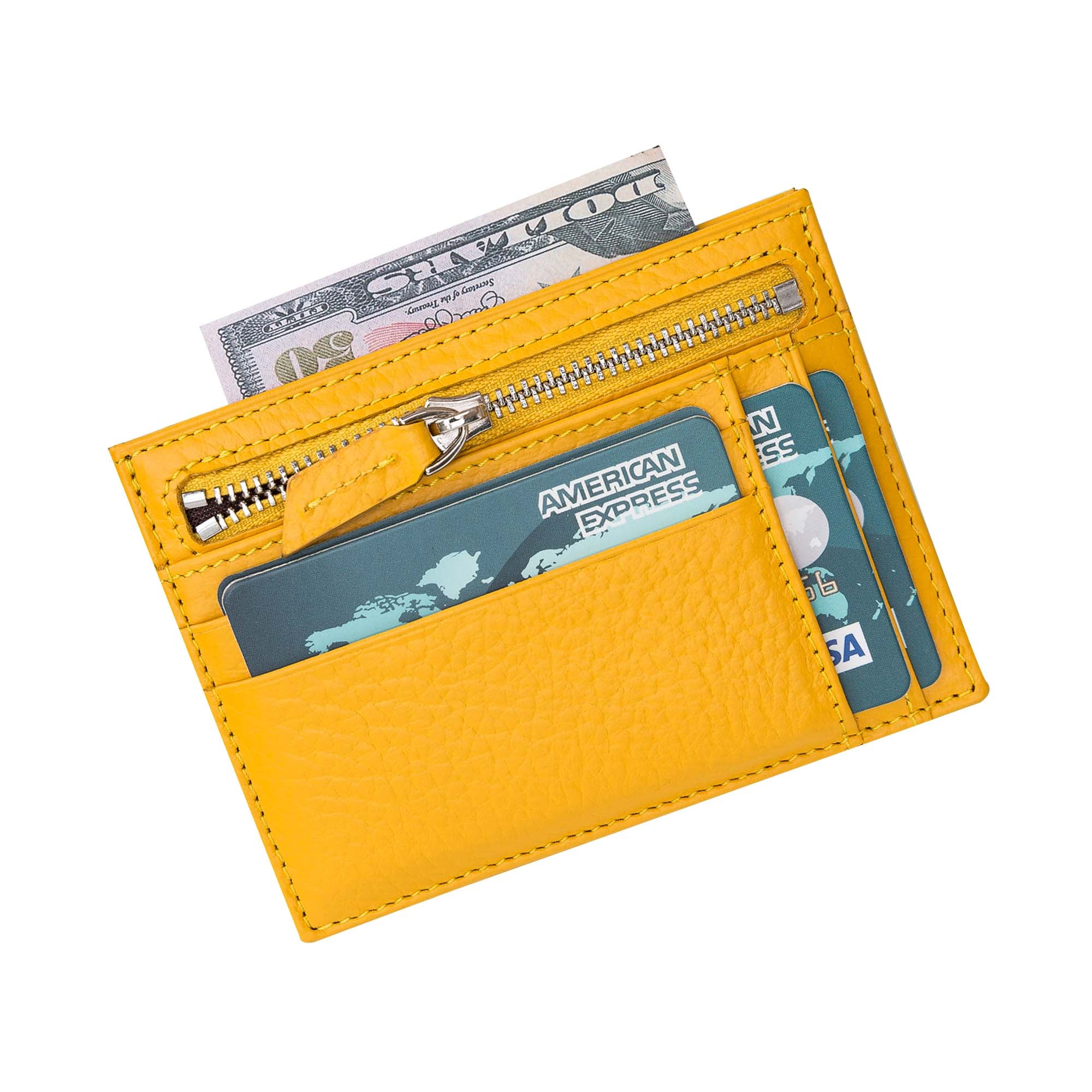 Slim Zipper Leather Wallet - YELLOW