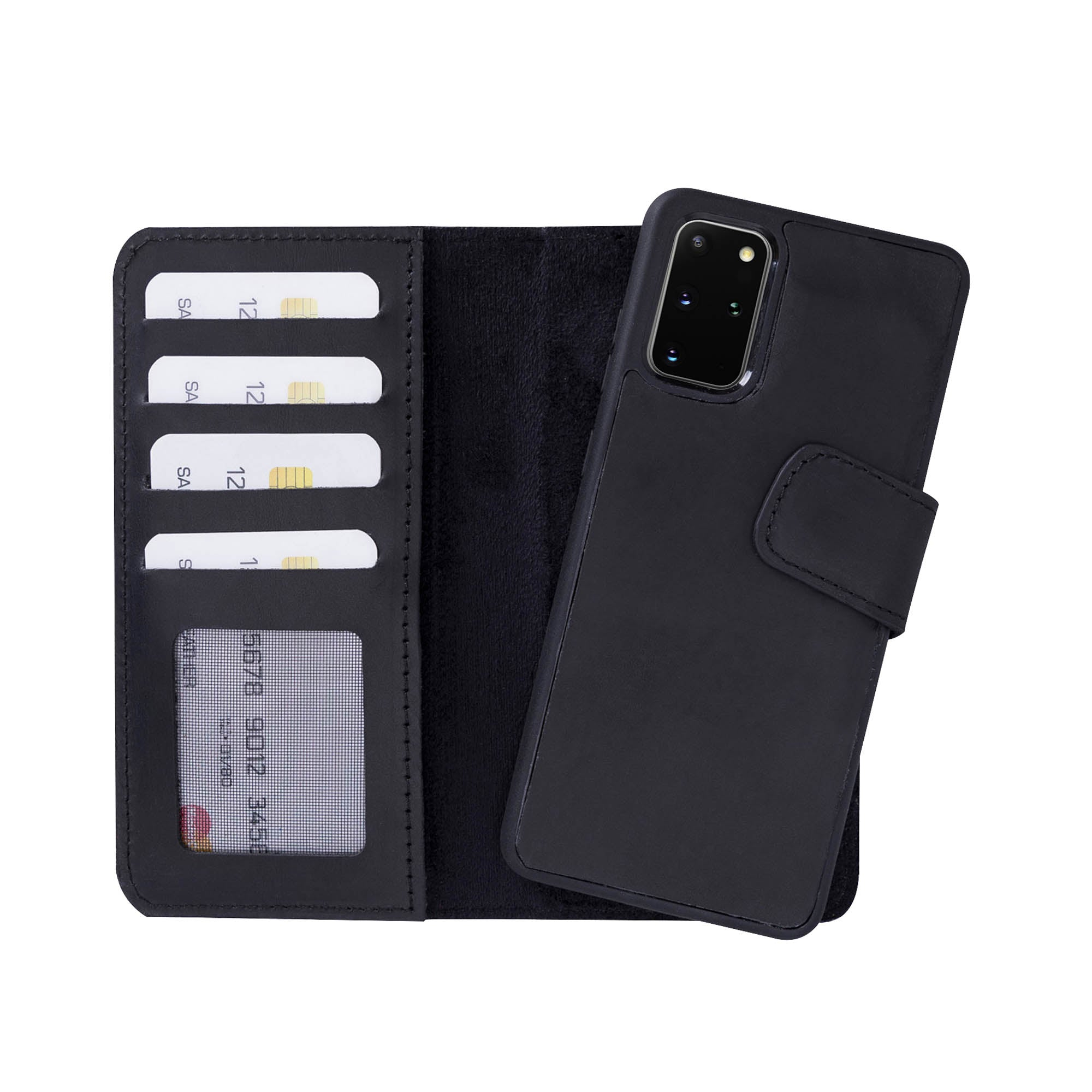 "Liluri Magnetic Detachable Leather Wallet Case for Samsung Galaxy S20 Plus (6.7"") - BLACK"
