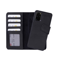 "Liluri Magnetic Detachable Leather Wallet Case for Samsung Galaxy S20 Plus (6.7"") - BLACK - saracleather"