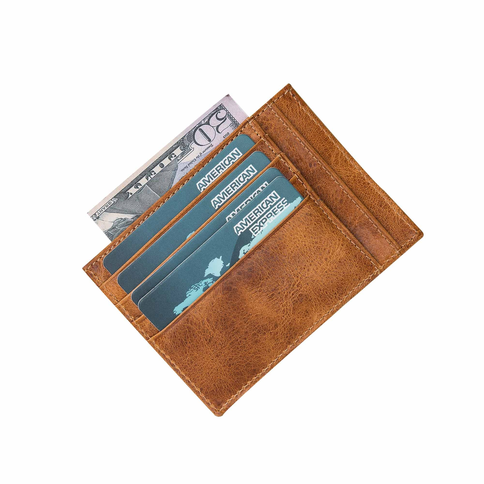 Slim Zipper Leather Wallet - TAN