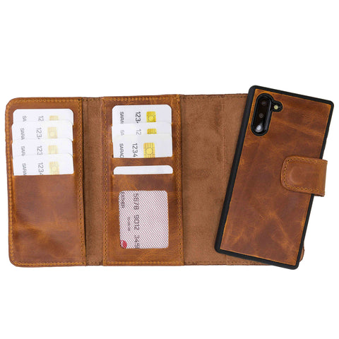 Santa Magnetic Detachable Leather Tri-Fold Wallet Case for Samsung Galaxy Note 10 - TAN - saracleather