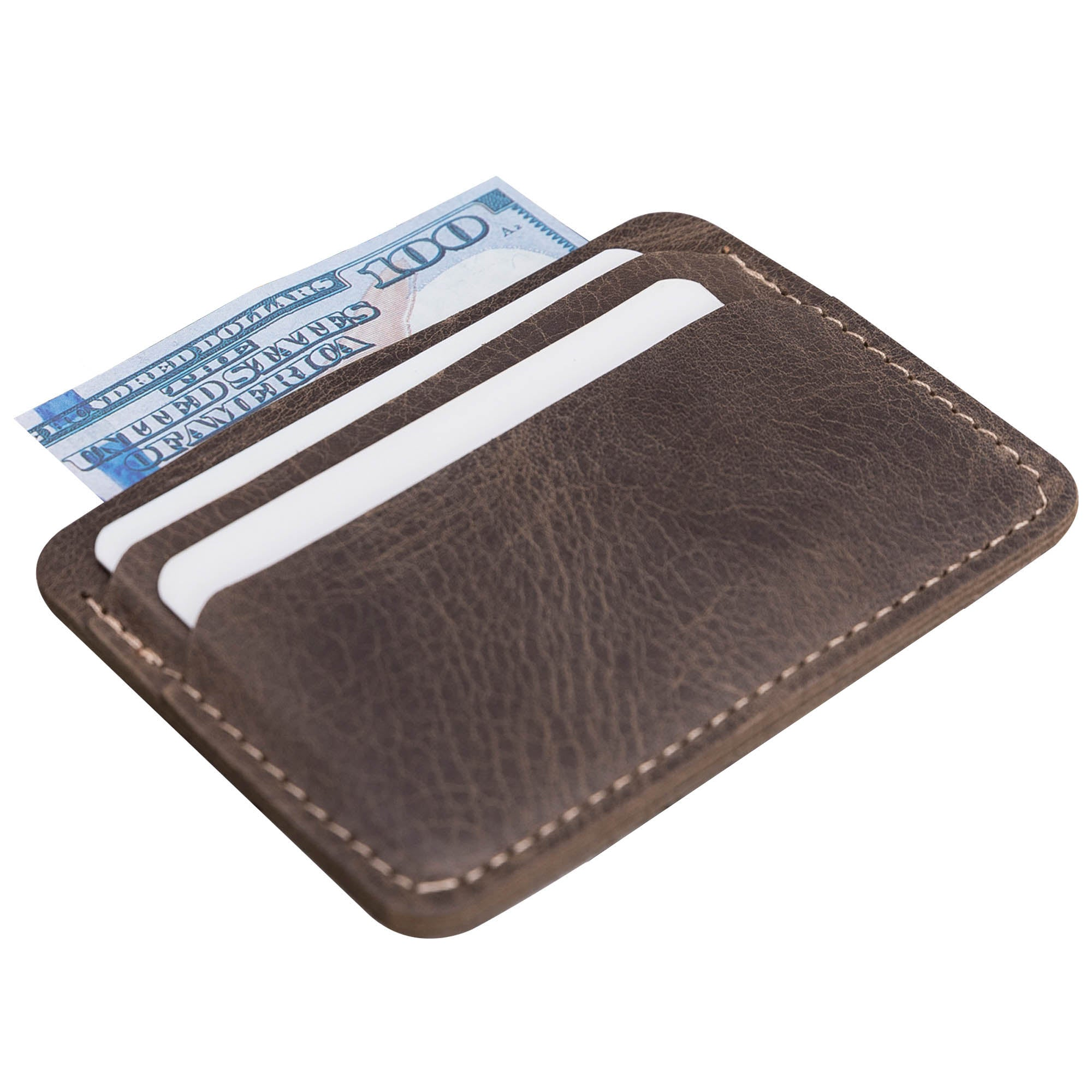 Slim Leather Business Card Holder - BROWN