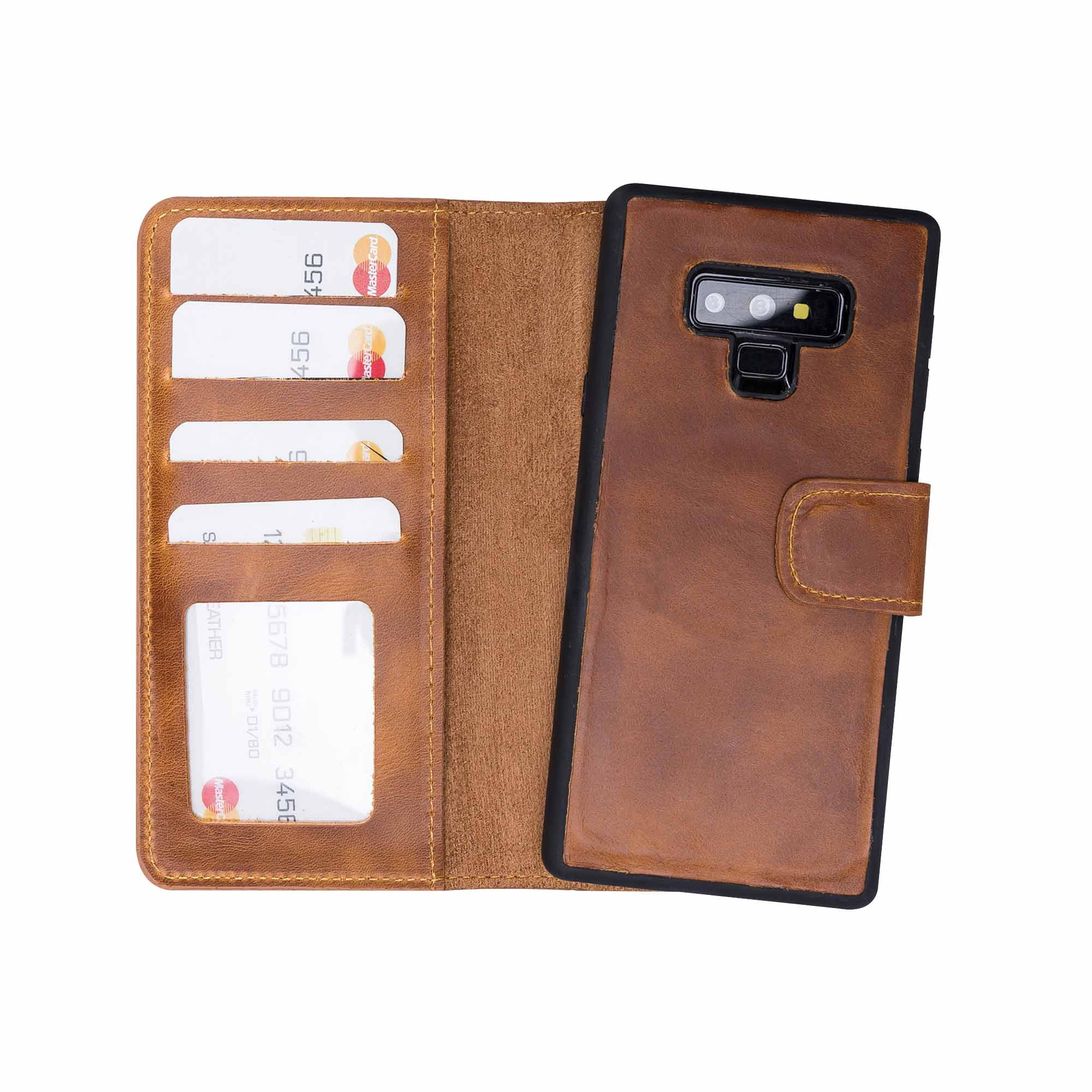 Liluri Magnetic Detachable Leather Wallet Case for Samsung Galaxy Note 9 - TAN - saracleather