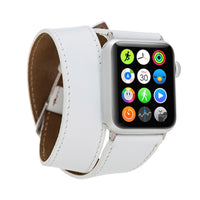 Double Tour Strap: Full Grain Leather Band for Apple Watch 38mm / 40mm - WHITE - saracleather