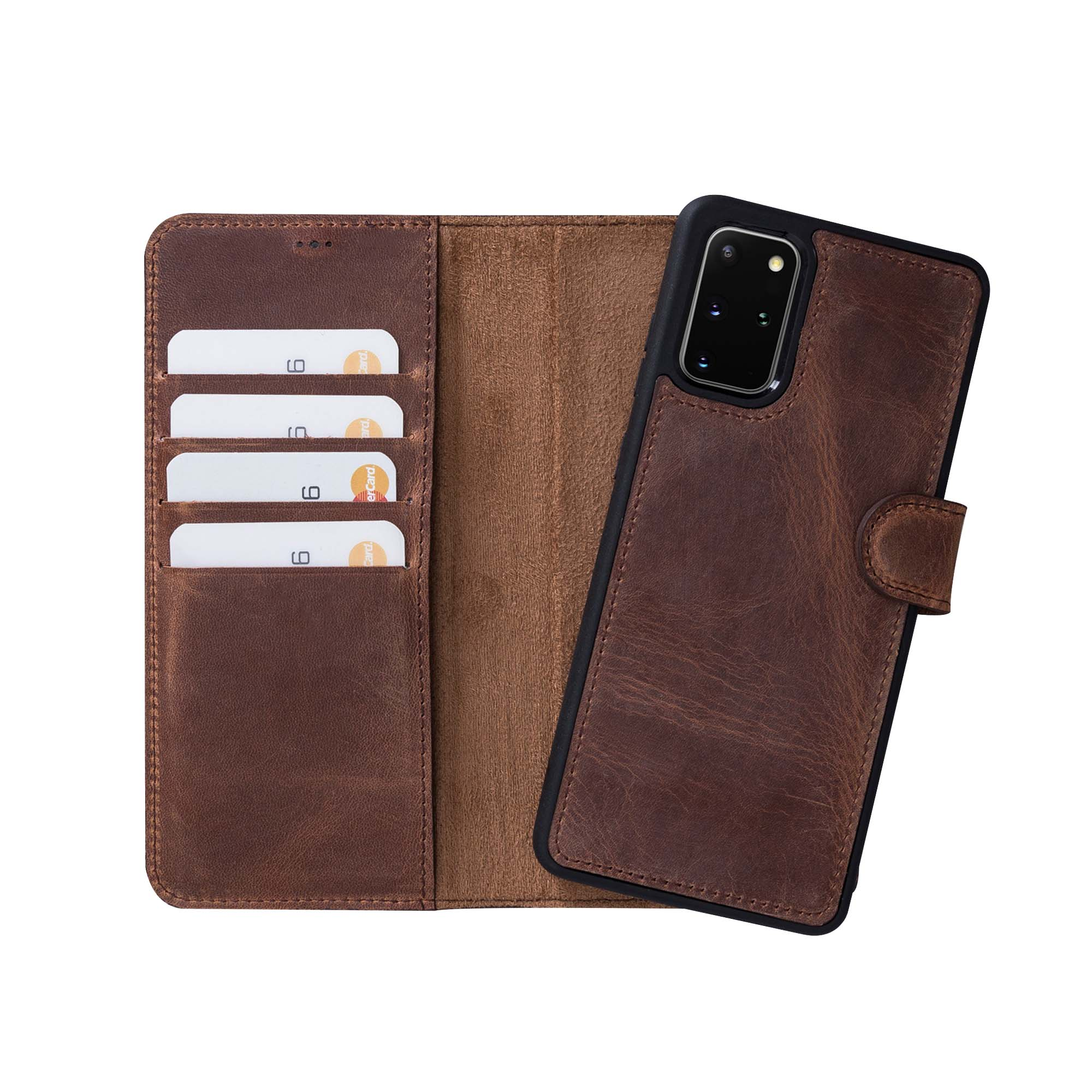 "Magic Magnetic Detachable Leather Wallet Case for Samsung Galaxy S20 Plus (6.7"") - BROWN"