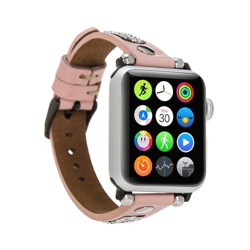 Ferro Stony Strap - Full Grain Leather Band for Apple Watch 38mm / 40mm - PINK - saracleather