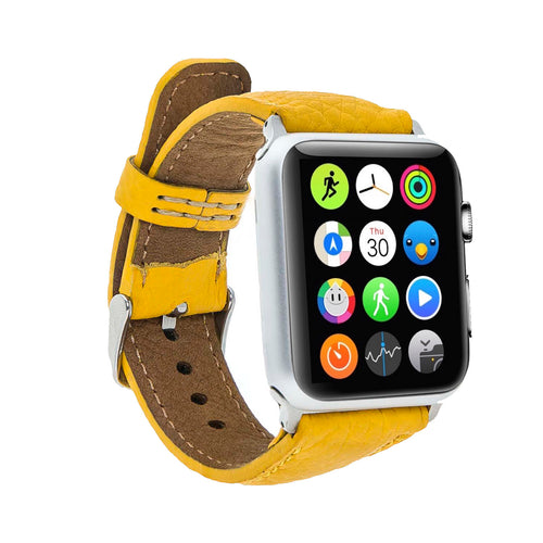 Full Grain Leather Band for Apple Watch 38mm / 40mm - YELLOW - saracleather
