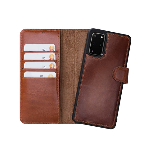 "Magic Magnetic Detachable Leather Wallet Case for Samsung Galaxy S20 Plus (6.7"") - EFFECT BROWN - saracleather"