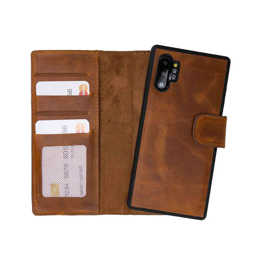 Liluri Magnetic Detachable Leather Wallet Case for Samsung Galaxy Note 10 Plus / Note 10 Plus 5G - TAN - saracleather