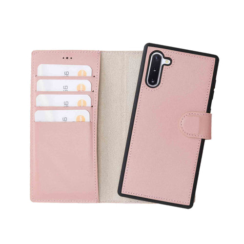 Magic Magnetic Detachable Leather Wallet Case for Samsung Galaxy Note 10 - PINK - saracleather